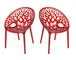 Polycarbonate Chairs Nilkamal Premium Polycarbonate Chairs Set Of 2 Transparent Red