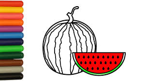 how to color watermelon coloring pages fruit kids learn drawing