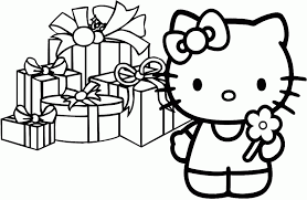 kitty christmas colouring pages coloring