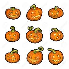 set of 3 halloween pumpkins vector illustration eps 10 contains