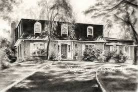 custom house drawing charcoal landscape housewarming gift