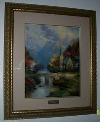 rare home interior framed thomas kinkade mountain chapel library