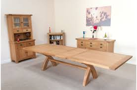 large extending oak dining table living room decoration