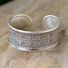 ring cuff bracelet images Sterling silver hill tribe cuff bracelet karen tribe imprint jpg