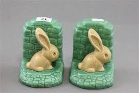 bunny bookends pair of sylvac rabbit bookends