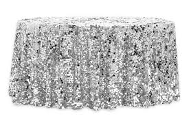 large payette sequin 120 tablecloth silver cv linens