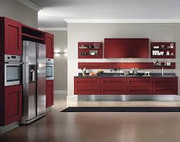 kitchen red kitchen cabinet black countertop refrigerator grey
