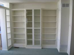 Bookcase With Doors White by Custom Display Wall Using Ikea Billy Bookcases Heartworkorg Com