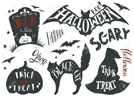 collection of halloween symbols with hand lettering trick or