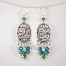 green earrings green blue white glass bead silver chandelier earrings