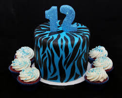 blue u0026 black zebra stripe 12th birthday cake cake in cup ny
