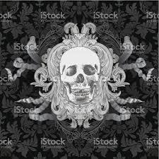 vintage halloween pattern background vintage skull stock vector art 96418764 istock