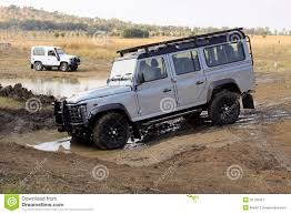 land rover water silver land rover defender 110 sw on 4x4 course editorial photo