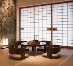 Japanese Minimalist Living Modern Zaisu Chairs And Round Table In Japanese Living Room With