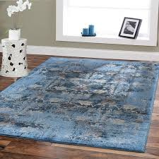Blue Brown Area Rugs Premium Soft 8x11 Modern Rugs For Dining Room Blue