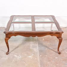 victorian style coffee table w glass inlays loveseat vintage