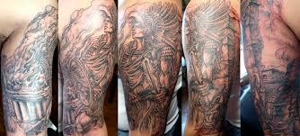 attractive aztec warrior sleeve tattoo design tattooshunt com