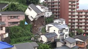video shows moment entire house topples over after landslide in japan