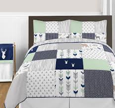 queen size bedding for girls amazon com navy blue mint and grey woodsy deer girls 3 piece
