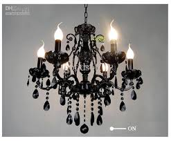 black crystal pendant light 2018 european black wrought iron crystal light 6 8 candle lights