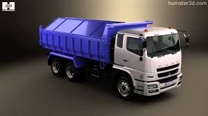 truck mitsubishi canter mitsubishi fuso super great dump truck 3 axle 2007 by 3d model