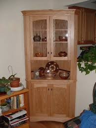 furniture surprising unfinished wooden corner cabinet with double