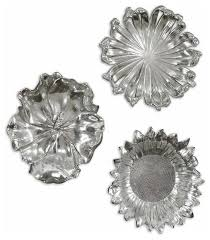 silver flowers uttermost silver flowers wall set 3 contemporary metal