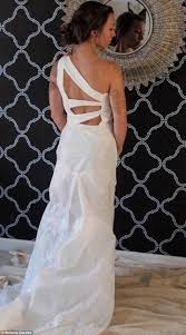 student designs a wedding dress with recycled target plastic bags