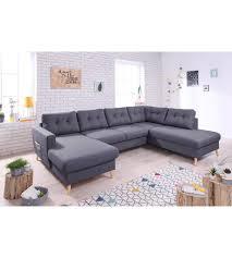 grand canapé droit canapé grand angle droit scandinave convertible tissu gris foncé