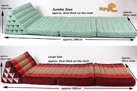 Folding Cushion Bed Jumbo Size Thai Triangle Pillow Fold Out Mattress Cushion Day Bed