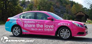 subaru pink cancer awareness subaru 3m vinyl car wrap for auto dealer