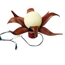 H E Wohnzimmerlampe Tischlampe Lampe Blüte Mit Kokospalmemblättern Sisalgeflecht