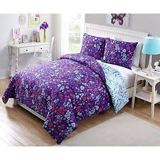 Teen Floral Bedding Blue Purple Floral Comforter Set 2 Piece Twin Size By Seventeen