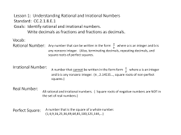 Rational Or Irrational Numbers Worksheet Lesson 1 Understanding Rational And Irrational Numbers Standard