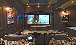 Exclusive Highend Wide Home Theater Designs For Home - Living room with home theater design