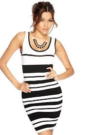 Black And White Striped Bodycon Dress Womens Clothing Party Dresses White Black Striped Sleeveless