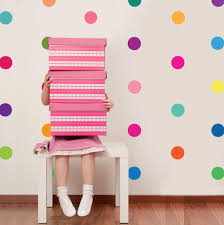 girl s decals wall dressed up 36 rainbow of colors polka dot wall decals wall dressed up 1