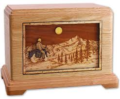 motorcycle urns wooden motorcycle cremation urn with mountains and moon memorial