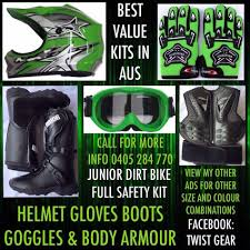 green dirt bike boots peewee jr kids dirt bike motocross boots chest plate goggles green