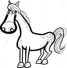 farm animal coloring book black and white cartoon illustration of cute horse farm animal