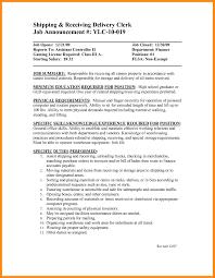 Receiving Clerk Job Description Resume 9 Sample Resume For Shipping And Receiving Azzurra Castle Grenada