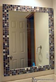 Mosaic Bathroom Mirror Wonderful Glass Tile Around Bathroom Mirror With Interior Home