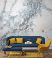 Designing A Wall Mural Deep Blue Clouded Marble Wall Mural Drama Marbles And Living Rooms