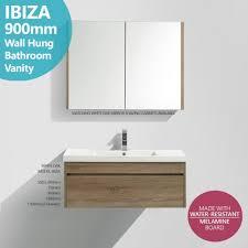 melamine bathroom cabinets ibiza 900mm white oak timber wood grain wall hung bathroom