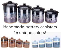 unique canister sets kitchen pottery canisters etsy