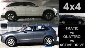 jeep audi mercedes 4matic vs audi quattro vs jeep active drive 4x4 test on