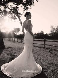 romantic sleeveless ivory lace backless mermaid wedding dress