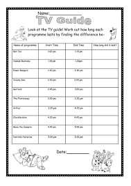 tv guide worksheet find the time difference by mpriest