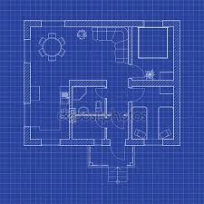 blueprint floor plan blueprint floor plan of a modern apartment on graph paper vector