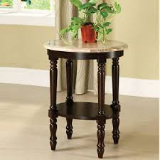Espresso Accent Table Traditional Oval White Marble Top Espresso Accent Telephone Plant